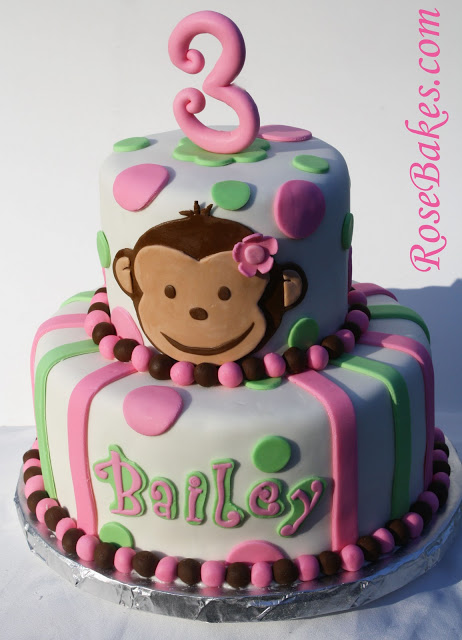 Pink Mod Monkey Cake Happy 3rd Birthday Bailey Rose Atwater