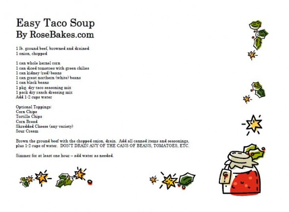 Easy Taco Soup Recipe Card