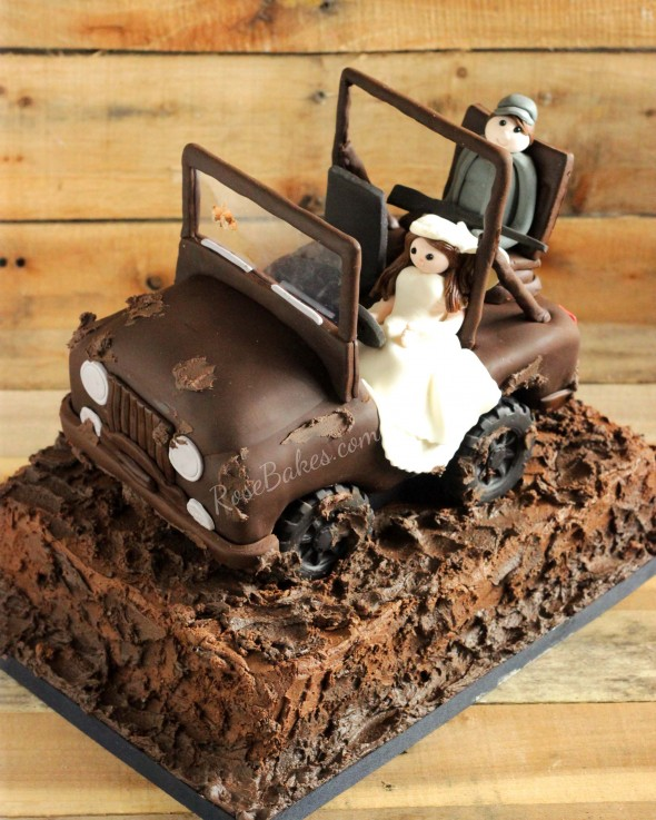 Jeep Cake with Bride and Hunter Groom
