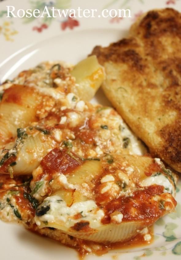 Stuffed Jumbo Shells and Hot Dog Buns Garlic Bread