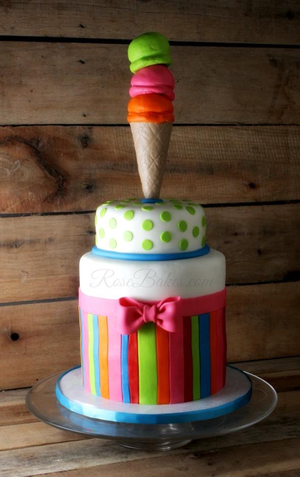 Bright Ice Cream Cone Cake