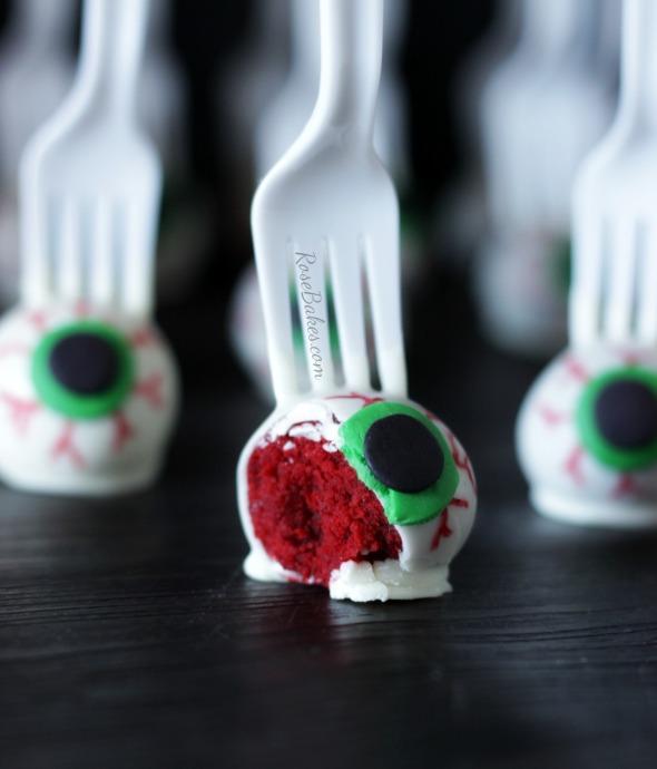 Eyeballs on a Fork Red Velvet Cake Pops