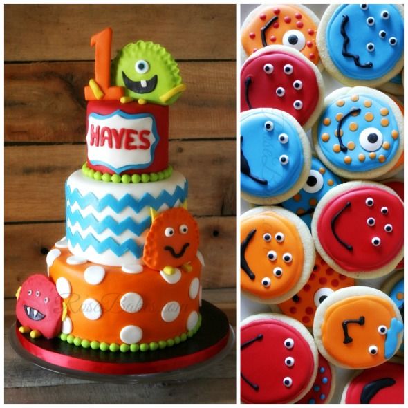 Monster Faces Cake and Cookies