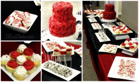 Red Black and White Dessert Table