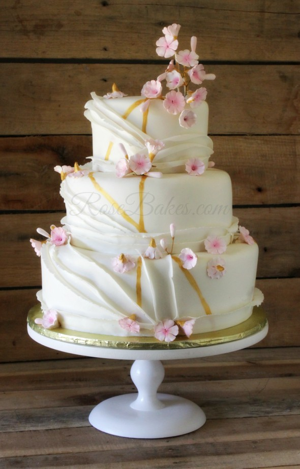 Ruffles, Cherry Blossoms & Gold Wedding Cake