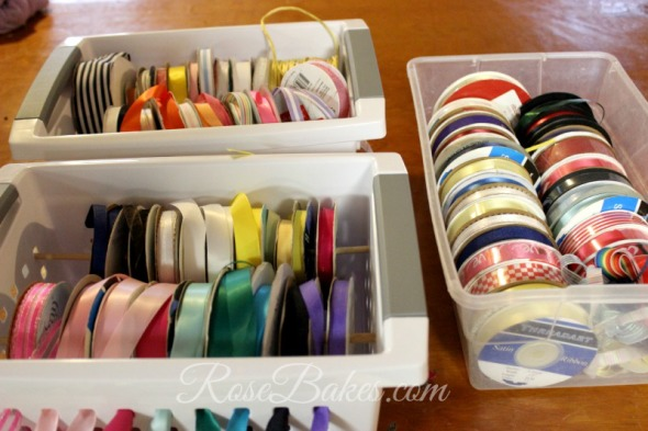 How to Organize Ribbons in Plastic Baskets