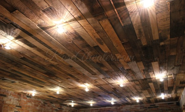 Pallet Ceiling with Industrial Lighting