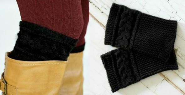 Black Knit Boot Cuffs