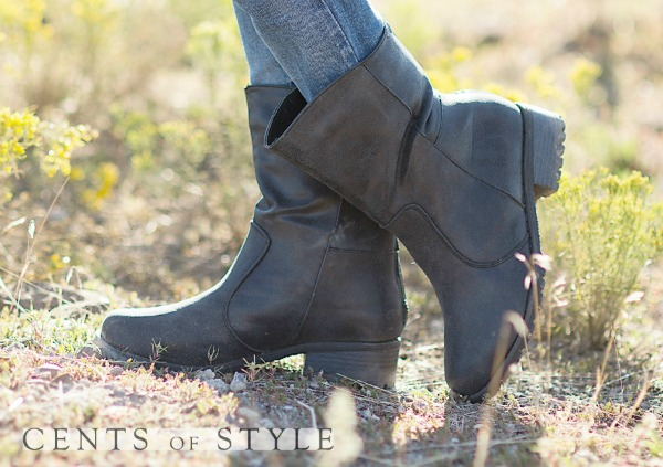Short Distressed Black Boots & FREE Black Knit Boot Cuffs – $22.50 & FREE SHIPPING