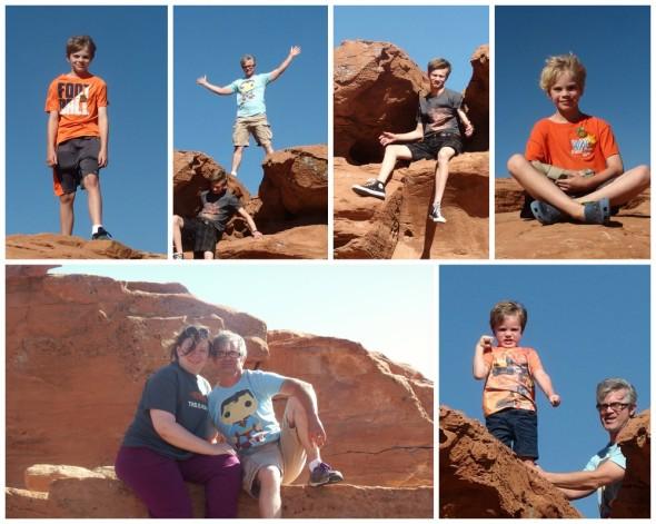 Climbing on Rocks at the Rest Area Arizona