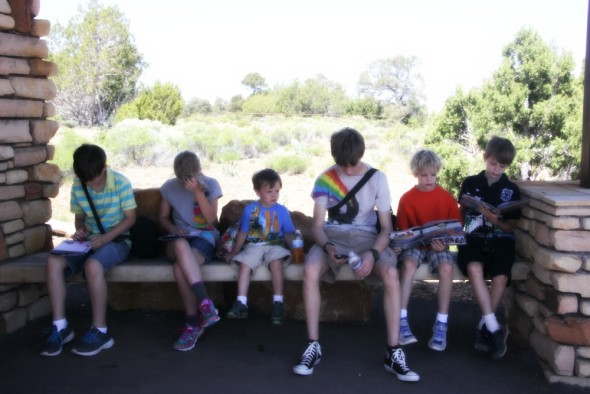 Kids Resting in the Shade Becoming Junior Rangers