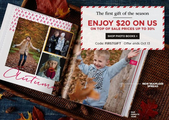 $20 off $20 purchase at Shutterfly