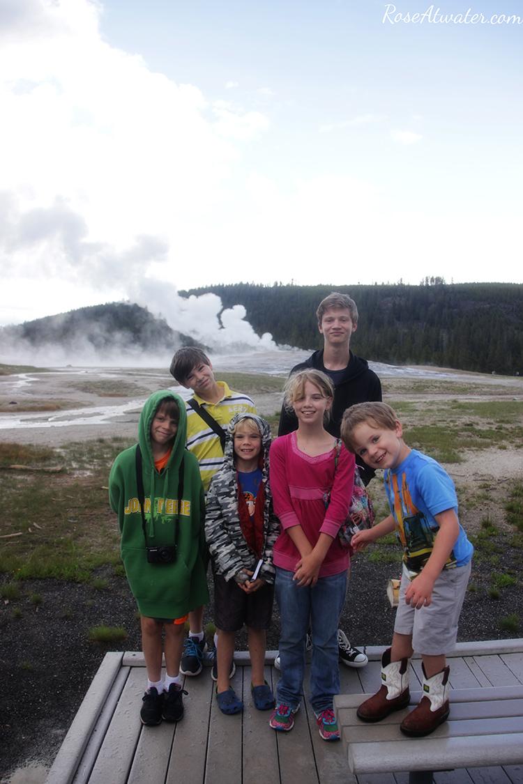 Kids at Old Faithful