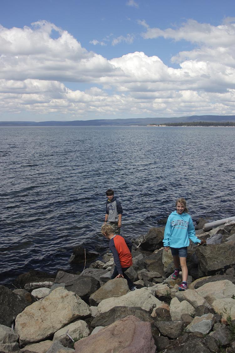 Kids at Yellowstone Lake