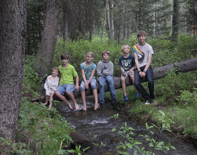 Kids on a log at the cabin