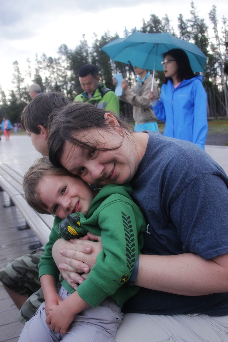 Mommy and Asher at Old Faithful