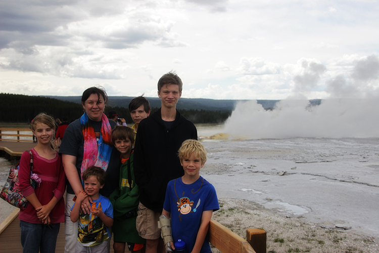 Mommy and Kids at Great Fountain Geyser